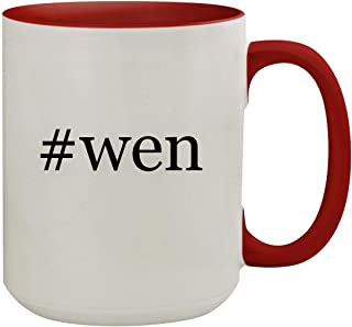 #wen - 15oz Hashtag Colored Inner & Handle Ceramic Coffee Mug, Red