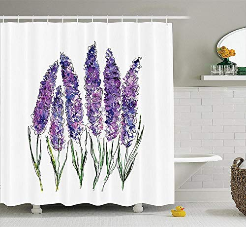 cortinas baño lila