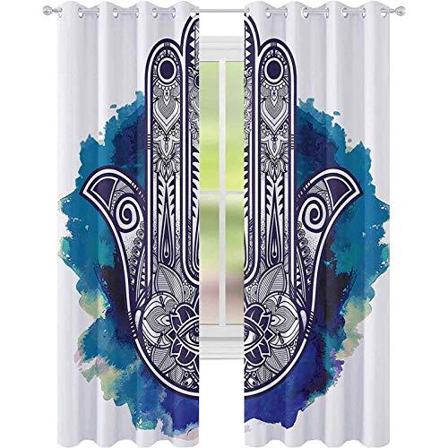 Cortinas opacas – aislamiento de juntas, Hamsa mano de Fátima símbolo de buena suerte oriental ornamento meditación, 52 x 72 cortinas para sala de estar, rosa azul y blanco