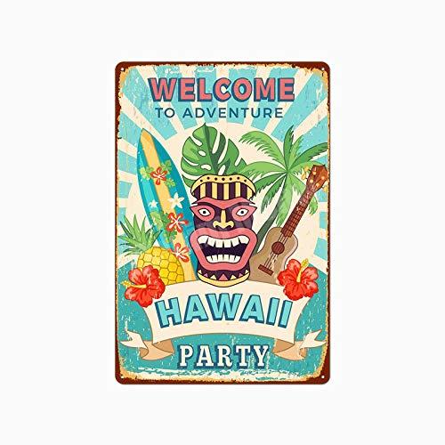 Jinlyp Beach Surf Retro Metal Cartel de Chapa Hawaii Party Art Painting Bar Club Decoración del hogar al Aire Libre Placa de Metal 20x30cm O