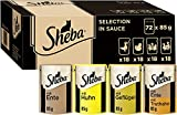 Sheba Selection in Sauce – Katzenfutter mit Geflügel in Sauce für ausgewachsene Katzen – Multipack mit 72 x 85g Katzennahrung