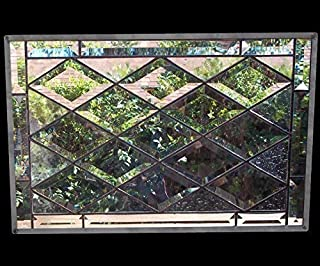 Stained Glass Window, leaded glass panel, diamond bevel