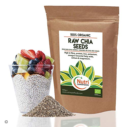 Chia Seeds - Raw and Organic - Vegan Plant Protein for Endurance - Improves Metabolism and Digestion - 500g
