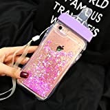 iPhone 6/6S Case,QKKE 3D Flowing Floating Sparkle Hearts Liquid Transparent Ultra Thin Soft TPU Baby Feeding Bottle Case for iPhone 6/6S 4.7' (Hot Pink)