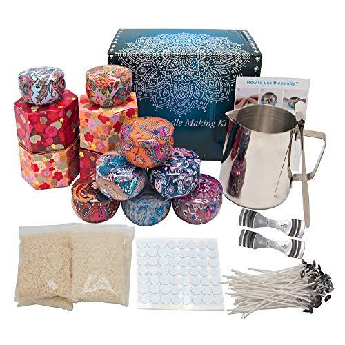 Kit de fabricación de velas, kit de fabricación de cera para principiantes, juego completo de regalo de velas con jarra de fusión de cera, cera de abejas, mechas, latas de velas y más
