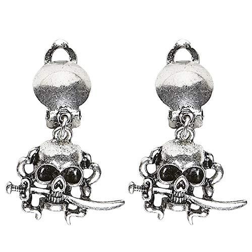 Amakando Origineller Ohrschmuck Totenschädel mit Clips / Silber / Ohrhänger für Piraten- & Rocker-Braut / Bestens geeignet zu Mottoparty & Kostümfest