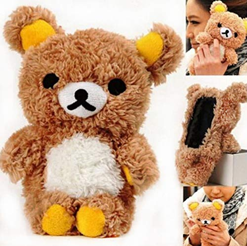 LUVI for iPhone 11 Furry Plush Case Fur Hair Cute 3D Teddy Bear Style Lovely Doll Cool Protective Cover Fuzzy Fluffy Fashion Luxury Winter Warm Case for iPhone 11 Brown