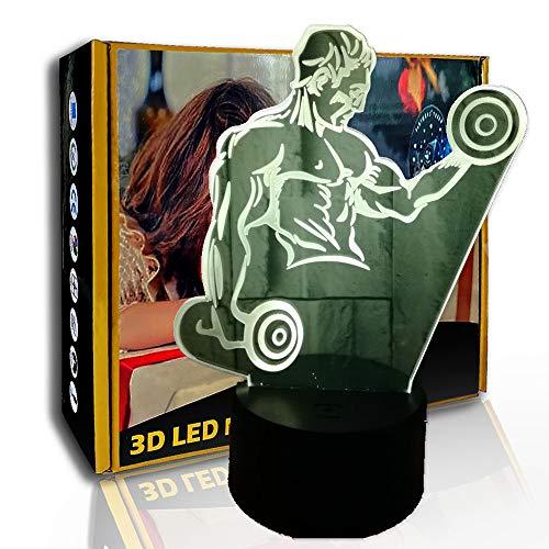 KangYD LED Luz nocturna Fitness Champion, lámpara de sueño nocturno 3D Illusion, G- Control de Telefonía Móvil, Decoración de la habitación, Iluminación de la habitación