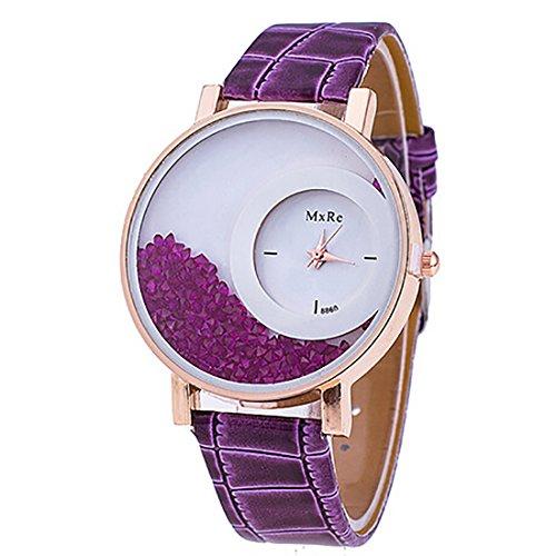 Las Mujeres Femme Diamantes de imitación Piel sintética Cuarzo Casual Reloj Pulsera Reloj de Pulsera, Color Morado