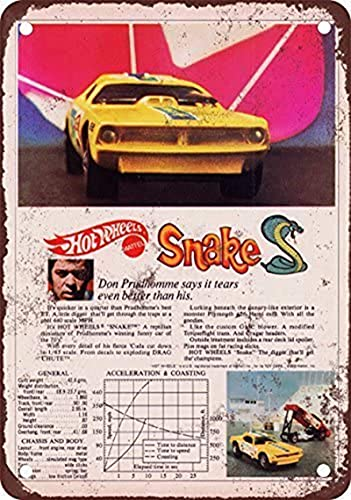 Tomlinsony 1970 Hot Wheels Don Prudhomme Snake Vintage Look Reproducción Metal Cartel de lata 8 ± x 30 cm
