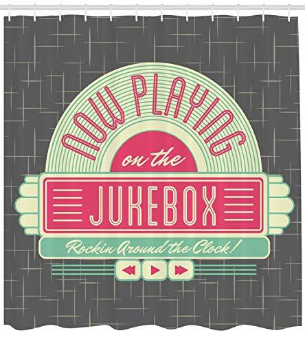 123456789 Mintgrüner Duschvorhang Retro 50s Music Box Print für Badezimmer