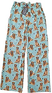Golden Retriever Unisex Lightweight Cotton Blend Pajama Bottoms – Super Soft and Comfortable – Perfect for Golden Retriever Gifts (Large) Teal