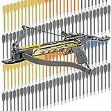 KingsArchery Crossbow Self-Cocking 80 LBS with Adjustable Sights, 3 Aluminium Arrow Bolts, and Bonus 120-pack of Colored PVC Arrow Bolts Warranty