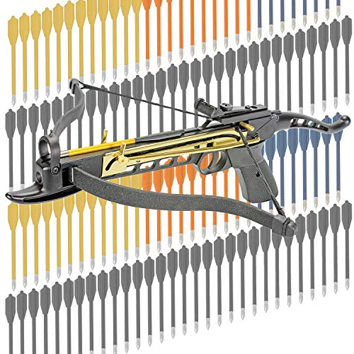 KingsArchery Crossbow Self-Cocking 80 LBS Adjustable Sights, 3 Aluminium Arrow Bolts Bonus 120-pack Colored PVC Arrow Bolts Warranty