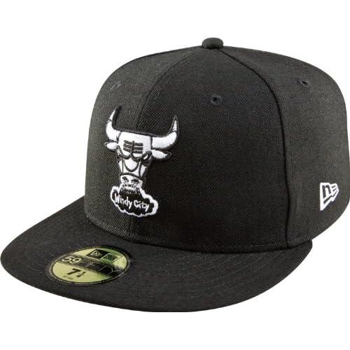 NBA Chicago Bulls Hardwood Classics Basic Black and White 59Fifty Cap 79f57ace139b