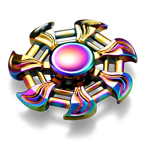 GlueMii Fidget Spinner Phone Stress Reducer Figit Toy for Kids and Adults,Finger Spinner Focus Toys for Anxiety,Autism,Boredom,Rainbow Color