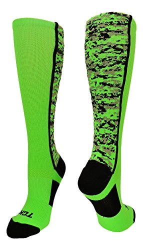 TCK Sports Digital Camo Over The Calf Socks (Neon Green/Black, Small)
