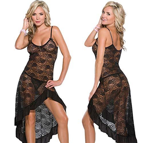 LOVELYBOBO Damen Reizwäsche Spitze Transparent Babydoll Kleid Tiefer Sexy Nachtkleid Nachthemd Lingerie Kleid Dessous Set Robe Lang Spitze Sommer Mit Slip
