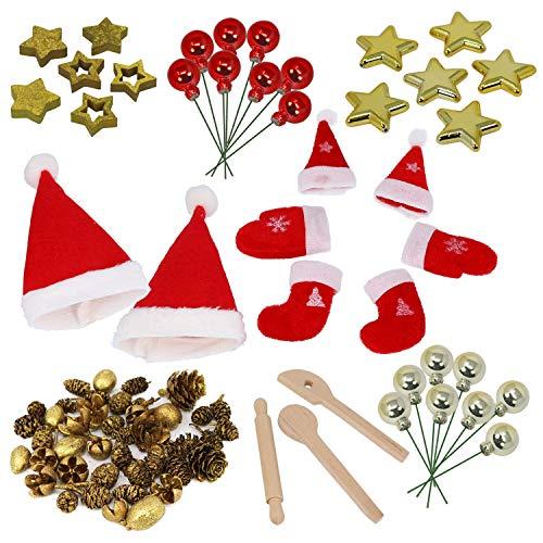 com-four® 8-teiliges Deko-Zubehör für Weihnachten - Weihnachts-Deko zum Basteln - Dekozubehör in verschiedenen Ausführungen [Auswahl variiert] (08-teilig - Basteldeko goldfarben)