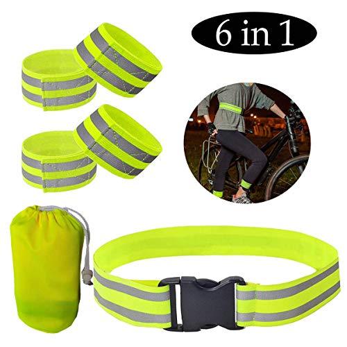 GeekerChip Reflektorband Armband,Reflexband Klettverschluss zum,Einstellbare und elastische 1 Sicherheitsgurt 4 Armband Knöchel Sicherheit Reflexband,für Outdoor Jogging, Radfahren