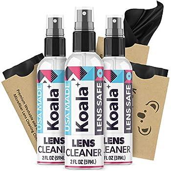 Koala Eyeglass Lens Cleaner Spray Kit | American Made | 2 Ounces + 1 Koala Cloth | Streak and Alcohol Free | Carefully Engineered Glasses Cleaner | Safe for All Lenses  Pack of 3