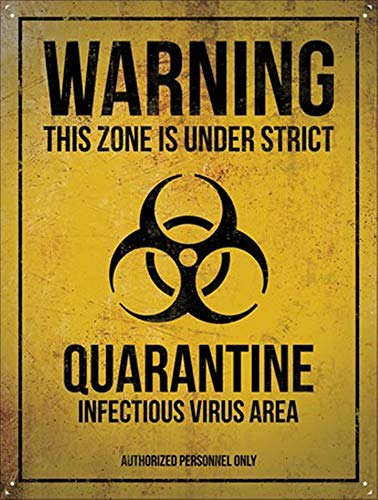 BORJOR Warning Quarantine -Cartel de Pared estaño Placa