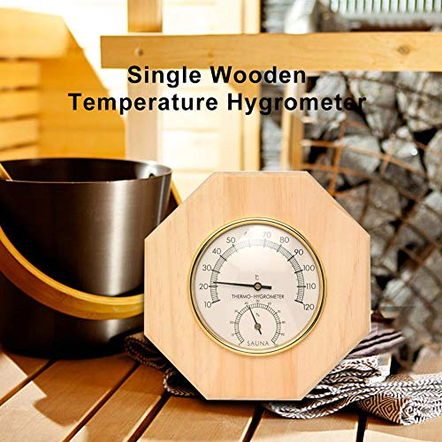 Chirsemey Wooden Hygrometer Thermometers for Sauna Timer 10°C ~ 120°C 16.5 x 16.5 x 3 cm Sauna Accessories for Shower Cubicles Handy Lovely