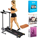 Sunny Health and Fitness SF-T1407M Manual Compact Walking Treadmill with LCD Monitor Bundle with Tech Smart USA Fitness & Wellness Suite, Workout Sport Towel and 1 Year Extended Protection Plan