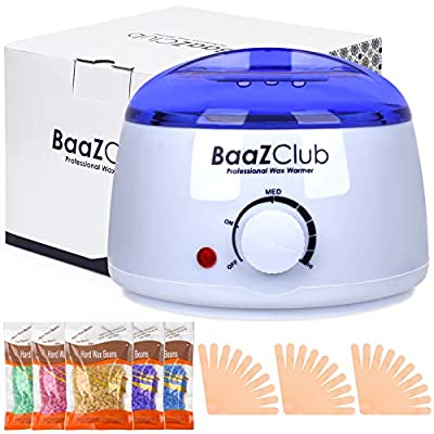 Wax Warmer Hair Removal Kit - Electric Wax Heater & Wax Melter with Adjustable Temperature - 5 Packs Pearl Wax Beans & 30 Pcs Waxing Applicator Sticks - Pain-Free Hair Removal, Rash-Free Smooth Skin