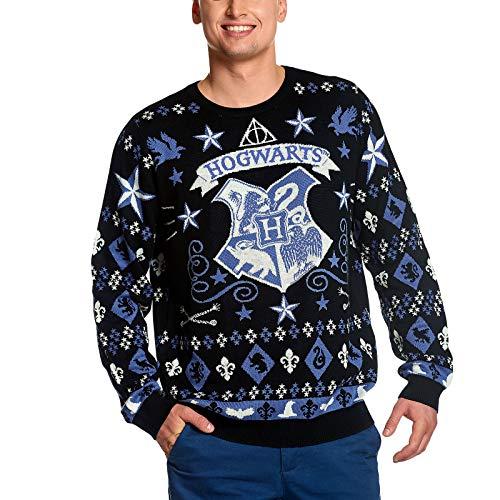 Suéter de Punto de Harry Potter Suéter de Navidad con Escudo de Armas de Hogwarts Elven Forest Negro Azul - XL