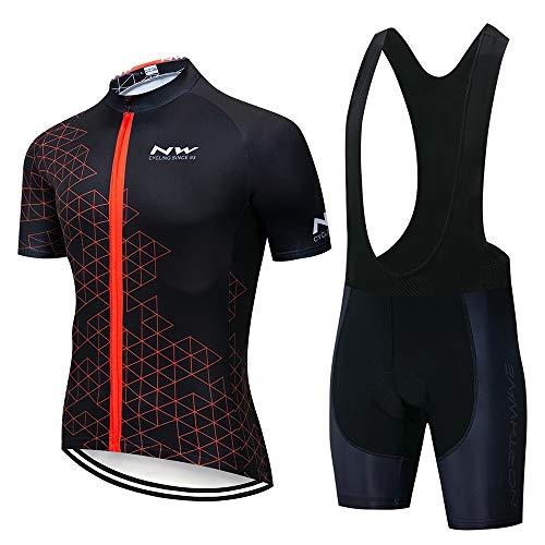 STEPANZU Maillot Ciclismo Hombre Verano Corta Ropa MTB + Pantalones Cortos Transpirable Ropa Ciclismo Conjunto