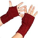 Guantes de invierno cálidos, mujeres de color sólido medio dedo pulgar agujero guantes de punto invierno muñeca brazo calentador - rojo vino