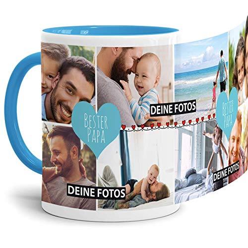 Tassendruck Fototasse mit Spruch - Bester Papa - zum SELBSTGESTALTEN mit Foto-Collage für 8 WUNSCHFOTOS - Bestes Fotogeschenk für Papa - Innen & Henkel Hellblau