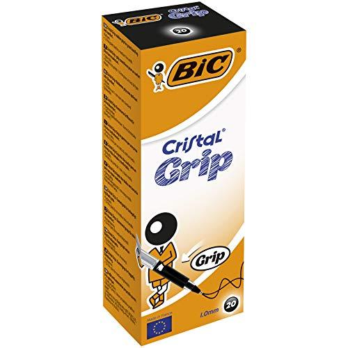 BIC Deutschland Cristal Grip Einweg-Kugelschreiber mit Kappe, Strichstärke 1,0 mm 20er-Schachtel schwarz