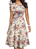 YATHON Women's Vintage Ruffle Floral Flared A Line Swing Casual Cocktail Party Dresses (L, YT001-Beige White f 01)