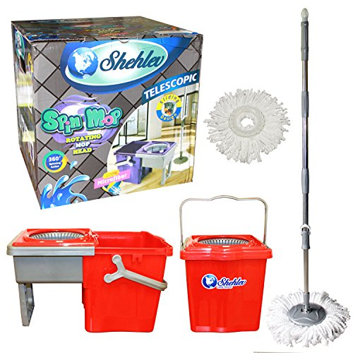 Microfiber Spin Mop Wringer with Bucket by Shehlev Little Twister Compact Store Away Floor Cleaning System With 2X Mop Heads