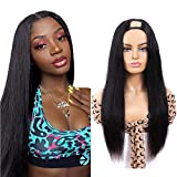 U Part Wig Human Hair Wigs UDU Straight Upart Human Hair Wig for Black Women 16inch Brazilian U Part Clip in Wig Human hair Full Wig with Middle U Shape Glueless Non Lace Front Wig 150% Density