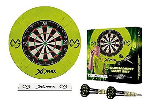 XQmax MVG Surround & Board Darts Set–Grün Surround–Dartscheibe–Oche Wurfleine–2Sets Messing Dartpfeile