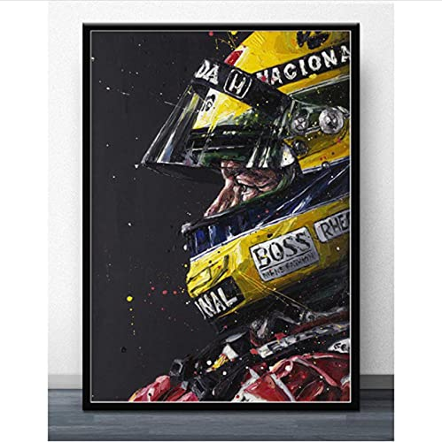 RGHJH Poster F1 Formula Ayrton Senna Star Race Car World Champion Painting Poster Wall Art Canvas Poster 50 * 70Cm No Frame