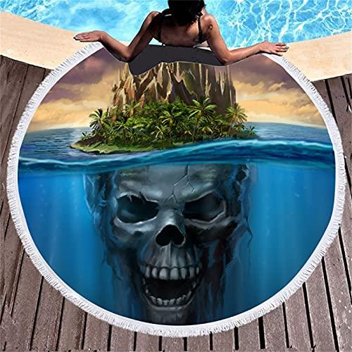 Toalla De Playa Redonda con Estampado Digital Kojima, Toalla De Microfibra, Tapete De Playa Absorbente De Secado Rápido, con Manta De Playa con Flecos 150 * 150cm
