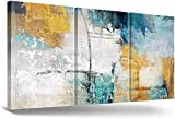 RAMEER Large Wall Art for Living Room Teal Blue Gray Brown Wall Decor Modern Abstract Canvas Print Painting for Bedroom Dining Room Office Wall Decorations 30x60in