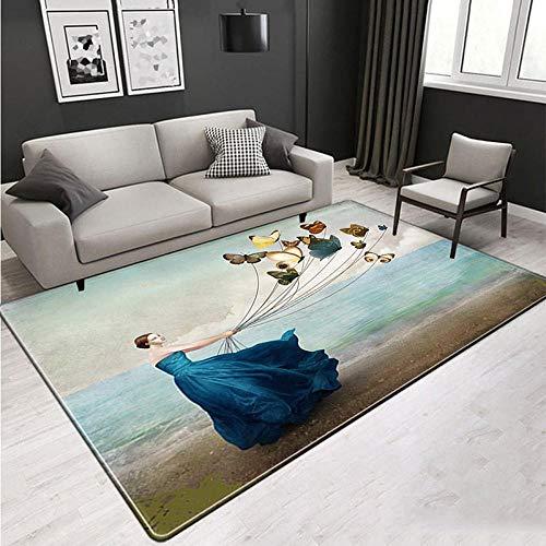 Vintage Abstract Grote tapijten voor woonkamer, eetkamer, slaapkamer, blauwe jurk, dames, bonte vlinders, 3D HD print, zachte dikke gezellige tapijten, antislip, voor binnen en buiten, moderne K 180×120cm(71×47inch)