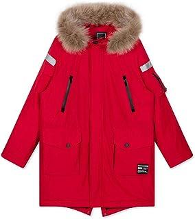 Cappotto Invernale Caldo Collo in Pelliccia con Cappuccio Rosso da Uomo Piumino Lungo Piumino Tendenza Abbigliamento da Uo...