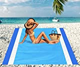 Beach Blanket, Beach Mat Outdoor Picnic Blanket Large Sand Free Compact for 4-7 Persons Water Proof And Quick Drying Beach Mat Mady by Premium Nylon Pocket Picnic Sheet For Outdoor Travel ( 78' X 81')