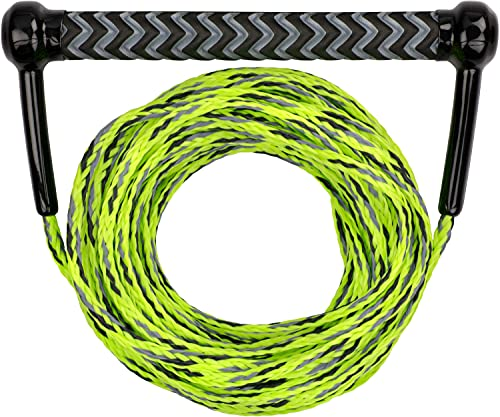 MESLE Wakeboard & Wasserski Leine Combo, Eva Soft Griff, schwimmend, Länge Zugseil mit Hantel 18,3 m, mit Rope Keeper, Farbe:Lime