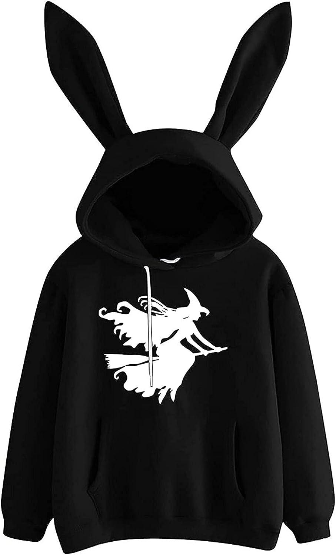 Women's Halloween Pullover Sweatshirt Cute Long Sleeve Anime Hoodie with Pocket