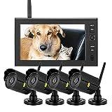 Wireless-überwachungskamera,Drahtlose Überwachungskamerasysteme - 7-Zoll-LCD-Wireless-WIFI-4CH-Sicherheitsmonitor-System-Anzeige-Kamera 4pcs IR-Kameras TF-Karte(Schwarz)