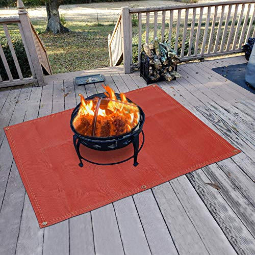 "Fire Pit Mat—Silicone stove fire mat,Retardant | Fireproof | Heat Resistant,Ember Mat and Grill mat, Under the stove, Protect your deck, terrace, lawn or campground from embers,Washable (70""×58"")"