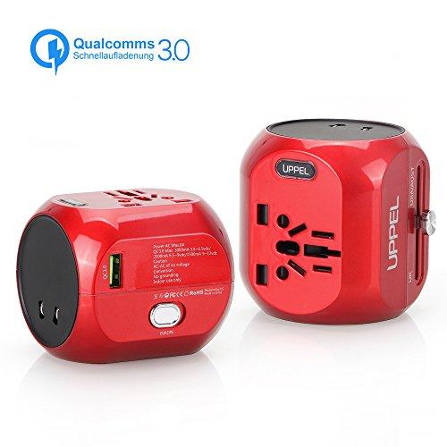 Sankoo Reiseadapter QC3.0 Schnellladung Universal Reiseadapter Steckdosenadapter Internationales Ladegerät Alles In Einem Steckdose-Adapter für USA, AU, Asien, EU, UK und über 150 Ländern (Rot)