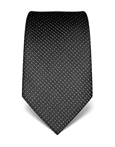 Vincenzo Boretti cravatta elegante classica da uomo, 8 cm x 15 cm, di pura seta di alta qualità, idrorepellente e antisporco, motivo a pois antracite